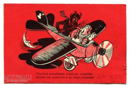 Diabeł i samolot - pocztówka z epoki aeroplanu