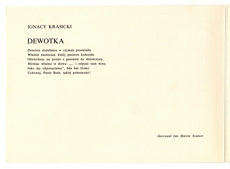 Ignacy Krasicki dewotka