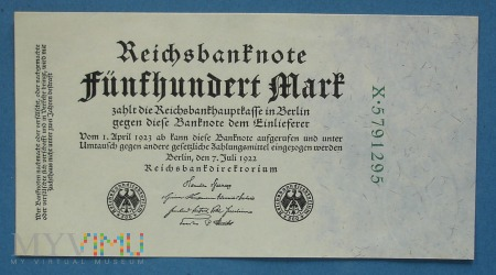 500 Mark 1922 r - Reichsbanknote - Niemcy