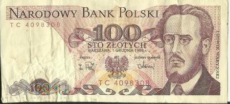 Banknot 100 zł 1 grudnia 1988