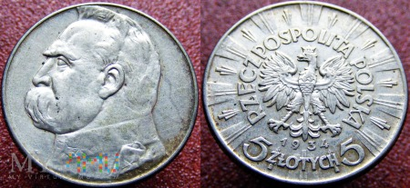5 ZŁ Piłsudski 1934 Oryginał SREBRO Ag