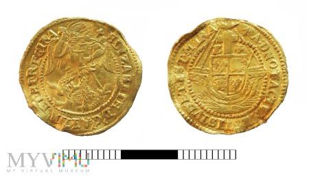 A gold half angel of Elizabeth I, 1580-1581. North