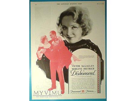 Marlene Dietrich reklama filmu Dishonored 1931