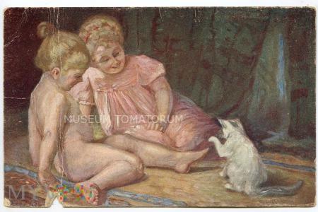 Gergely - Dzieci bawiące się z kotkiem