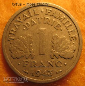 1 FRANC - Francja, Vichy (1943)