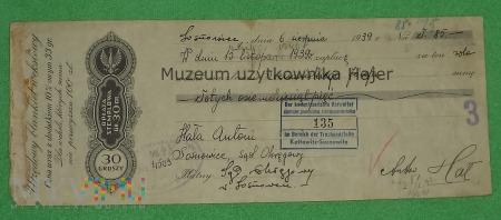 Weksel - Sosnowiec 1939 rok