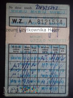 1987 rok dowód wydania kartek żywnościowych M-I