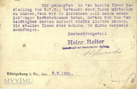 Heinr. Reiter Konigsberg 1920 r.