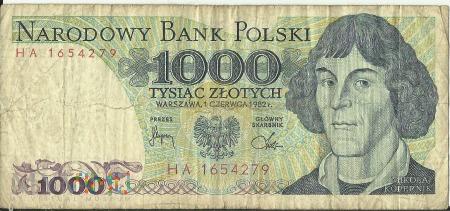 Banknot 1 000 złotych 1 czerwca 1982