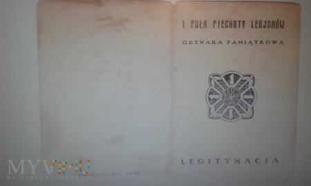 legitymacja odznaki pamiątkowej 1 PP Legionów
