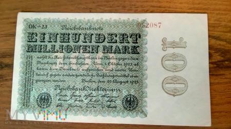 100,000,000 Mark 1923r. Piękny Stan