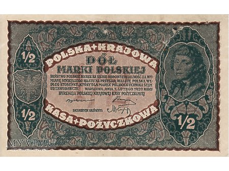 1/2 marki polskiej - 7 lutego 1920 rok.