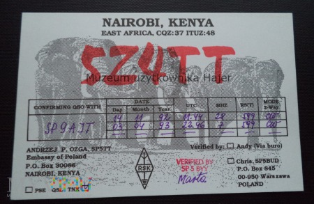Kenia Nairobi Karta QSL
