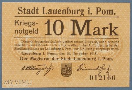 10 Mark 1918 r - Lauenburg in Pom. - Lebork