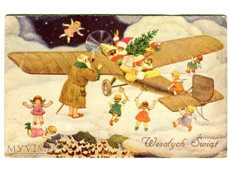 Święty Mikołaj w Aeroplanie i Elfy