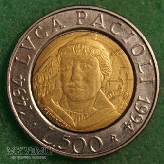 Włochy, 1994, 500 Lirów