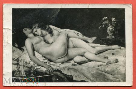 Sen - Gustave Courbet, pocztówka c. 1940-50