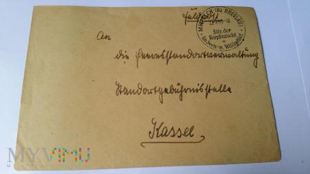 KOPERTA LIST MILITSCH-KASSEL 1943 r.