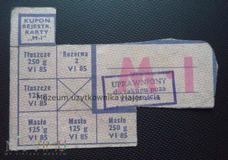 M-I czerwiec 1985 rok - kartka żywnościowa