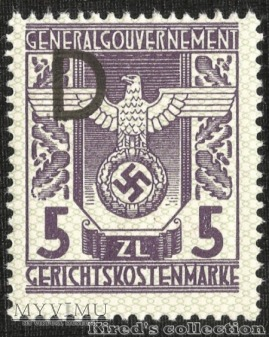 "Gerichtskostenmarke 5 złotych ""D"""