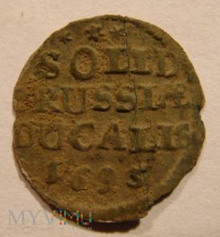SOLID PRUSSIAE DUCALIS 1695 Szeląg pruski