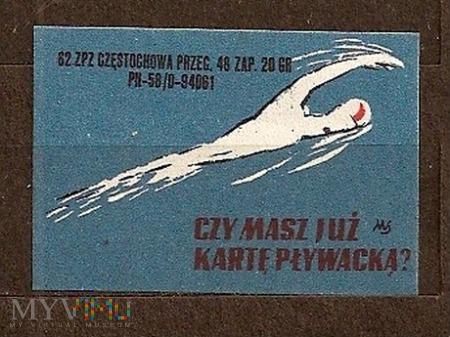 Czy masz już kartę pływacką.1.1962.Częstochowa