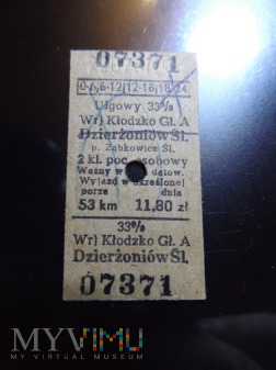 Stary Bilet 1981 na pociąg Kłodzko - Dzierżoniów