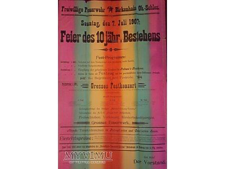 Plakat z festynu OSP Brzeziny Śl 1909