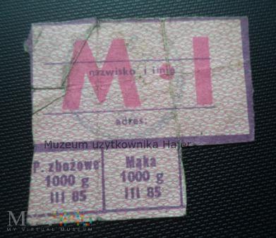 M-I marzec 1985 rok - kartka żywnościowa