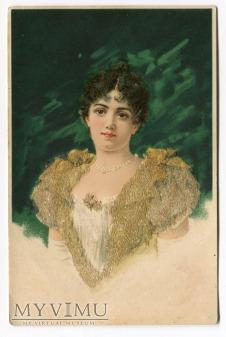 c. 1900 Piękna dama Novelty Bourbon Busset