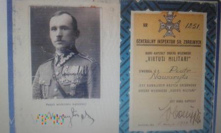 Legitymacja Krzyża Virtuti Militari Piotr Noworyta