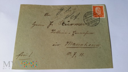 KOPERTA LIST Militsch - Mannheim 1933 r.