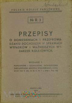 1946 - Nr R. 3 Przepisy w sprawach wypadków