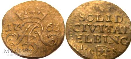 Szeląg elblęski 1763 August III SAS - R2