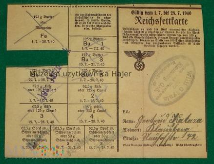 Reichsfettkarte - 1940 rok Klausberg O-S