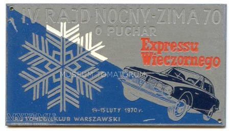"""Plakietka - """"IV RAID NOCNY - ZIMA 70"""""""
