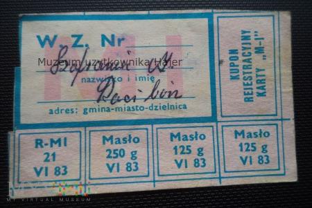 M-I czerwiec 1983 rok - kartka żywnościowa