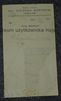 Dr. Guido Zipser stara recepta lekarska 1939 rok