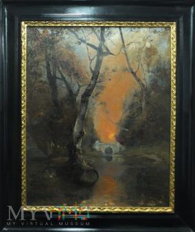 Klever Julij Pejzaż z mostkiem o zachodzie słońca