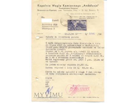 KWK Andaluzja -pismo na papierze firmowym