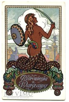 Duże zdjęcie Warszawa - Syrena warszawska, pocztówka 1914
