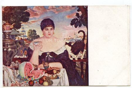 Kustodijew - Portret kupcowej przy samowarze