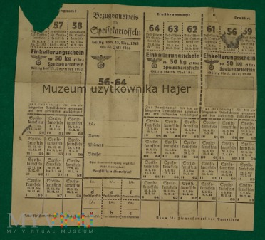 Bezugsausweis für Speisekartoffeln - 1943 r Rzesza
