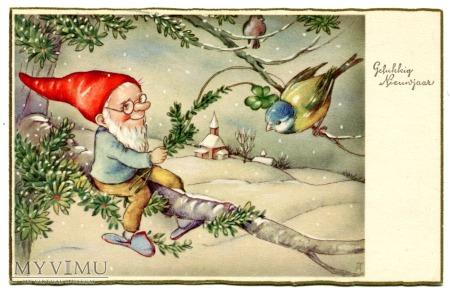Życzenia na Nowy Rok c. 1945 Skrzat i Ptaszek