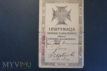 Legitymacja Odznaki Frontu Litewsko-Białoruskiego