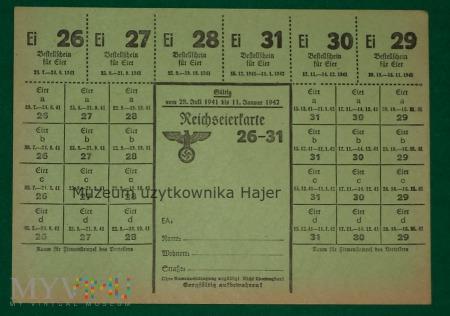 Reichseierkarte Kartka żywnościowa na jajka 1941 r
