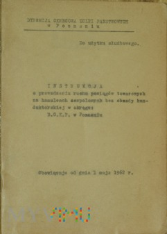 1962 - Instrukcja o ruchu poc. tow. na DOKP Poz.
