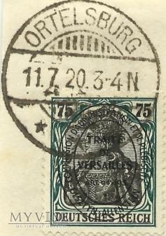 75 pfennig Ortelsburg 1920 - plebiscyt
