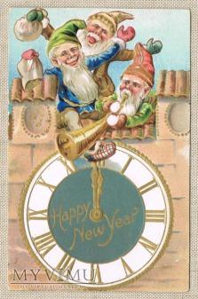 Krasnale Nowy Rok kasa zegar