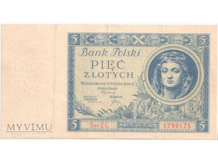 Duże zdjęcie 5 złotych 2 stycznia 1930 rok Ser. CC.